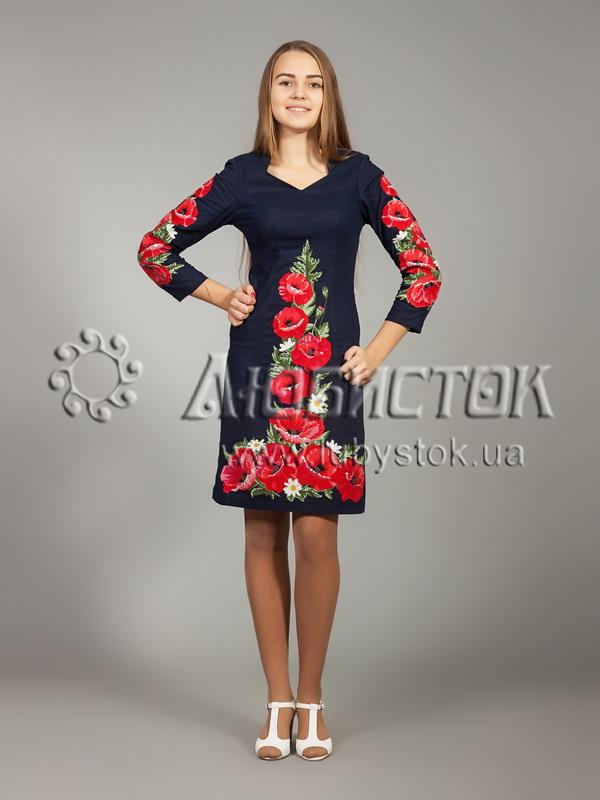 16920efb3ea399 Вишита сукня хрестиком ЖПВ 24-1- квіти - купити