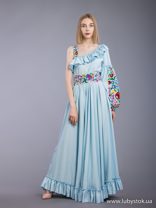 76f7abedfb4a1e Вишита сукня гладдю ЖПВ 73-1 - сукня на літо з квітами - купити