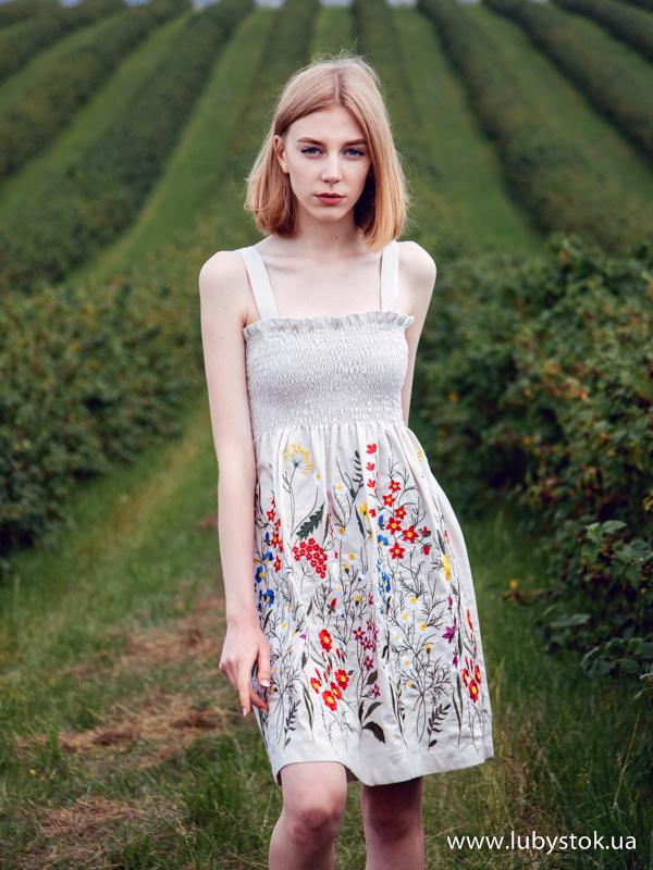 a5ff8e896229c8 Вишита сукня гладдю ЖПВ 76-1 - сукня на літо з квітами - купити