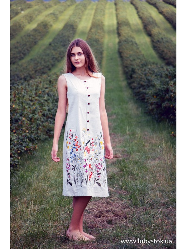d802749efc695b Вишита сукня гладдю ЖПВ 78-1 - сукня на літо з квітами - купити