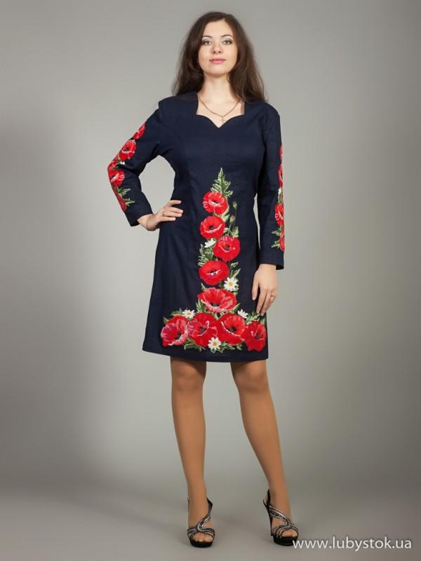 Вишита сукня великого розміру D-024-01-b