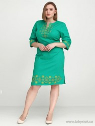 Вишите плаття великого розміру D-026-03-b