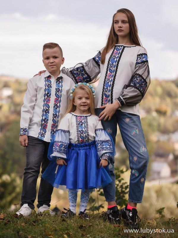 Сімейні вишиванки старша сестра, братик і сестричка F-004