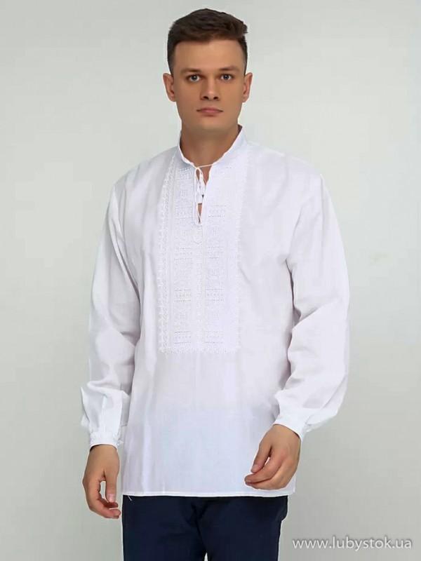 Чоловіча вишиванка білим по білому S-013-01