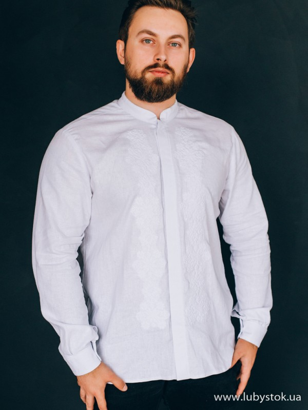 Чоловіча вишиванка білим по білому S-130-01